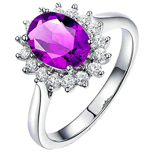 Bishilin Jewelry Wedding Band S925 Sterling Silver for Women Married Rings Purple Oval Cristal Gemstone Birthstone Wedding Engagement Ring Hypoallergenic Jewelry Silver Size: V 1/2