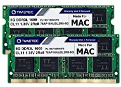 DDR3L 1600MHz PC3L-12800 204-Pin Unbuffered Non ECC 1.35V CL11 Dual Rank 2Rx8 based 512x8 Module Size: 8GB Package: 2x8GB Designed for Apple MacBook Pro -13 inch / 15 inch / 17 inch Early 2011, 13 inch / 15 inch / 17 inch Late 2011, 13 inch / 15 inch...