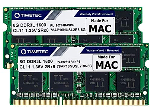 Timetec 16GB KIT(2x8GB) Compatible for Apple DDR3L 1600MHz for Mac Book Pro(Early/Late 2011,Mid 2012), iMac(Mid 2011,Late 2012,Early/Late 2013,Late 2014,Mid 2015), Mac Mini(Mid 2011,Late 2012) MAC RAM