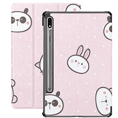 Panda chino conejo animal Galaxy 7 caso para Samsung Galaxy Tab S7/s7 Plus Tablet con funda soporte contraportada Galaxy Tab S7 cubierta para Galaxy Tab S7 11 pulgadas S7 Plus 12.4 pulgadas