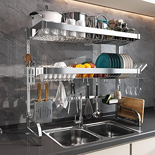 MAJALiS Over Sink Dish Drying Rack Adjustable Full 304 Stainless Steel 3 Tier Extra Large Storage Dish Drainer for Kitchen Sink Expandable with 10 Hooks(Sliver, 25.6inch-35.5inch)