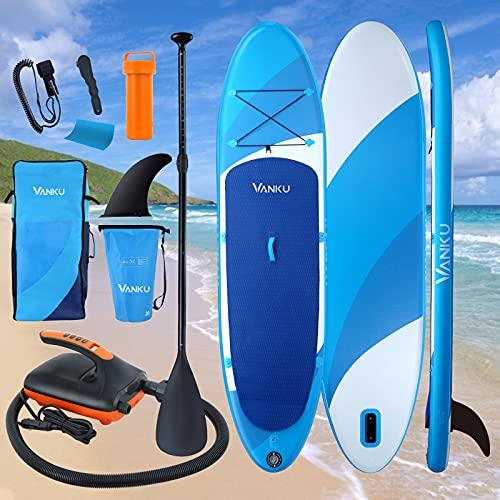 """Vanku 11"""" deska do paddleboardingu na stojąco, 160 kg, z pompką elektryczną, wiosłem SUP, leash, torba wodoszczelna 20 l, płetwy, zestaw naprawczy"""