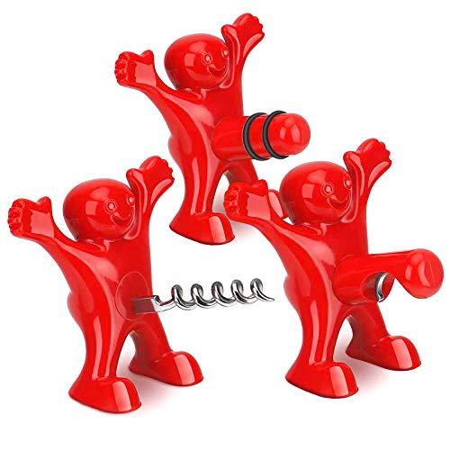 Yisscen 3 Piezas Hombre Rojo Abridor Botella Cerveza Opener Set, Hombre Rojo Divertido Creativo Tapón de ino Set para Bares, Hogares, Restaurantes, Accesorios Sacacorchos para Bebidas de Vino