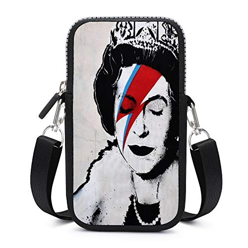 Banksy UK England Queen Elisabeth with David Bowie Rockband Face Makeup Cell Phone Bag Small Shoulder Purse Neoprene Wallet Case Handbag Phone Pocket for iPhone 11 Se 2020 11 Pro Xr X Xs Samsung