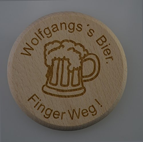 Deksel van bierglas met individuele naam en motief