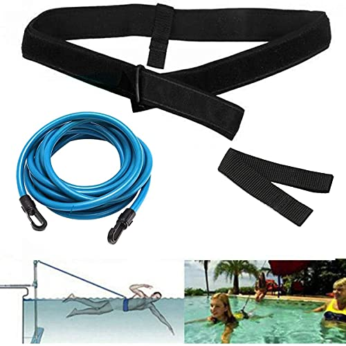 ISUNEED ISVNEED Swim Training Belts for Adult, Swim Training Leash,Swim Tether Stationary Swimming, Swim Harness Static Swimming Belt, Swim Bungee Cords Resistance Bands (Blue, 157.5)