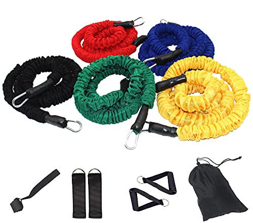 11 Pcs Resistance Bands Set, Resistance Tubes with Heavy Duty Protective Nylon Sleeves Include 5 Stackable Elastic Exercise Bands, Door Anchor, Ankle Straps, Foam Handle for Men Women Home Workouts