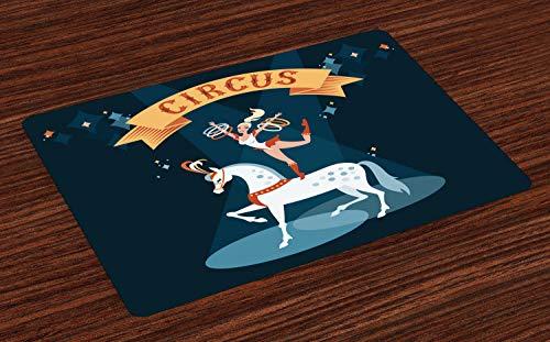 ABAKUHAUS Circus Placemat Set van 4, Meisje dansen op een Paard, Wasbare Stoffen Placemat voor Eettafel, Veelkleurig