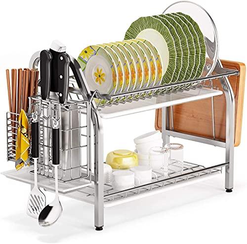 COVAODQ Escurreplatos de 2 pisos, con soporte para utensilios, soporte para tablas de cortar y escurridor para la encimera de la cocina (plateado y blanco)