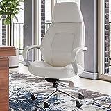 Zuri Furniture Gates Genuine Leather Aluminum Base High Back Executive Chair - Cream