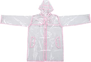 Mengsha's Transparent Fashionable Vinyl Women's Raincoat Runway Style, Light Pink, Short