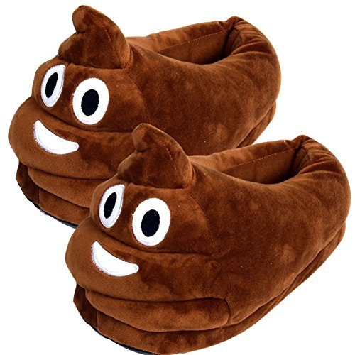 Winter Warm Indoor Slippers Antislip with Poop Face Oi Emoji Smiley Emoticon Shoes Linkspe Soft Plush Home Shoes Poop Emoji Slippers Good Gift for Thanksgiving Day Chirstmas (Adult, Brown)