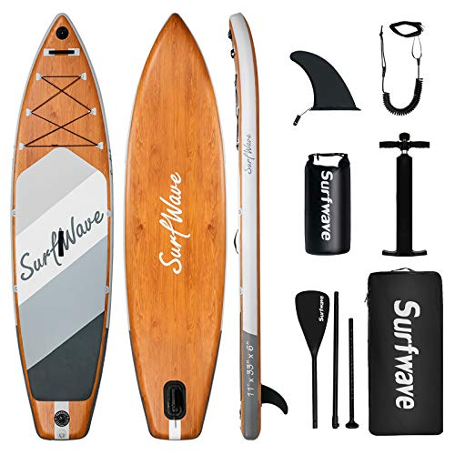 Surfwave Inflatable Paddle Board, 11 ×33   Stand Up SUP Board W Camera Mount, 5L Waterproof Bag, Floatable Paddle, 5MIN Fast Inflate, Ideal for Beginners & Expects, Fresh or Salt Water…