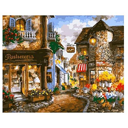 ksyklys DIY Oil Painting, Pintar por Numeros para Adultos Niños Kit Tienda de Flores 16 * 20 Pulgadas,