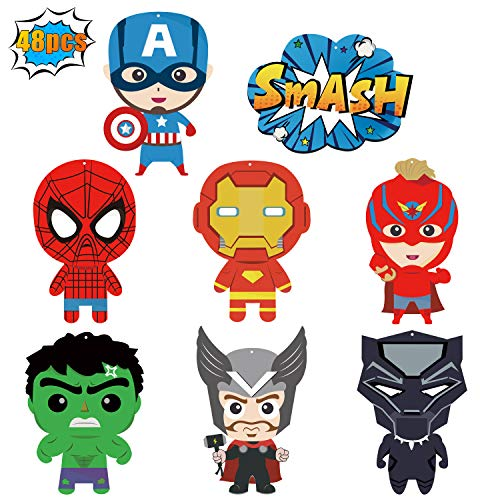 Ticiaga 48pcs Superhero Action Sign Cut-outs, Birthday Centerpiece Sticks for Tables, Iron Spiderman Party Garland Banner, Hero Cake Topper Sticks, Photo Booth Props, Superhero Theme Party Decoration