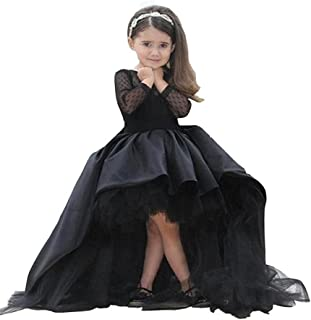 Ghdress High Low Girls Pageant Dreses Black Long Sleeves Flower Girls Ball Gowns 03