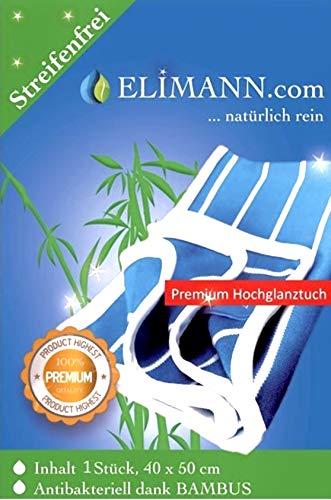 Elimann® Bambustuch Premium Hochglanz-Reinigungstuch 50 x 40 cm kraftvoll Reinigen, saugstark Trocknen, kratzfrei Polieren, für Glas/Spiegel/Scheiben/Besteck/Brillen/Autos/Möbel