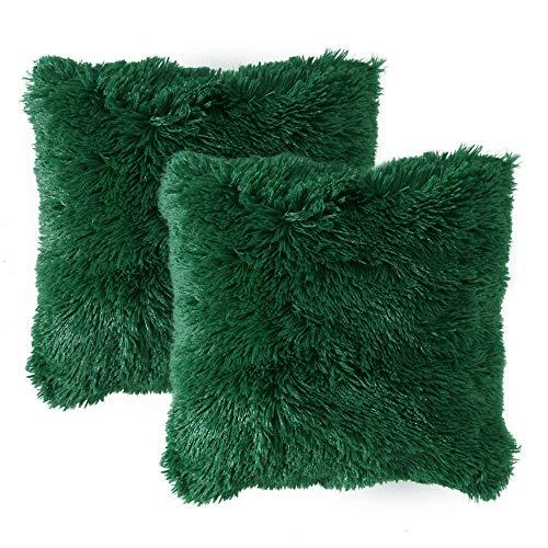 MIULEE Juego de 2 Cojines Protectores Faux Fur Throw Funda de cojín Deluxe Home Decorativo Cuadrados y Suaves Cojines PeloPara la Hogar Sofá Cama del Coche 18'x18'Inch 45x45cm Verde Oscuro