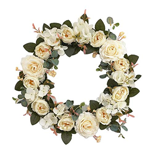 Bonarty Christmas Door Wall Hanging Flower Wreath Garland Thanksgiving Ornament - White