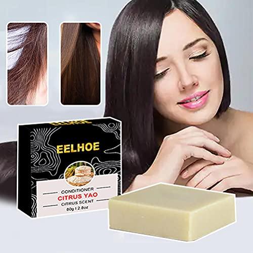 spier Jabón para el cabello, Jabón para el Cabello Sólido Champú Jabón de Arroz Esencia de Cabello Jabón para Nutrir Cuero Cabelludo Extremos Divididos