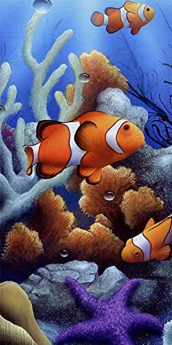 Telo mare XXL, (barriera corallina) 100 x 180 cm, asciugamano grande in 100% microfibra