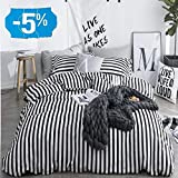 CLOTHKNOW Duvet Cover Sets Queen Stripes Black and White Striped Bedding Set Ticking Teen Boys Girls 100 Cotton Zipper Closure 3 pcs 1 Comforter Cover 2 Envelope Pillowcases