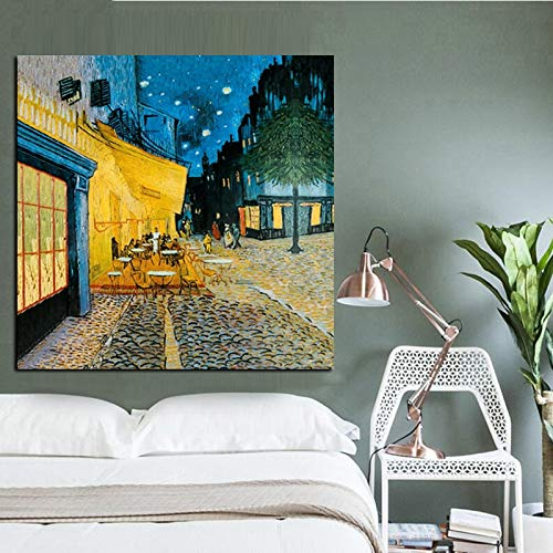 N / A Abstrakte Aquarell Van Gogh Ölgemälde-Reproduktion auf Leinwand Straßencafé Nachtplakat 60x60cm