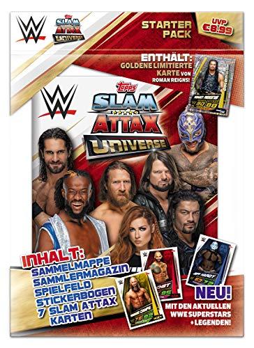 Topps FS0000715 - Slam Attax Sammelkarten WWE, Starterset mit Sammelmappe, Magazin, Spielfeld, 4 Sammelkarten und einer limitierten Karte