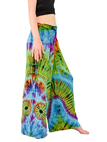Orient Trail Women's Bohemian Yoga Wide Leg Palazzo Tie Dye Pants M/L Tie Dye Andaman Blue