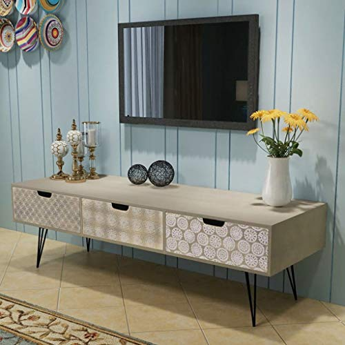 Buyounger TV Cabinet with 3 Drawers 120x40x36 cm Grey