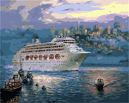 Paint by Numbers Kit for Adults Beginner DIY Oil Painting 16x20 inch - Big Cruise Ship, Drawing with Brushes Christmas Decor Decorations Gifts (Frame)