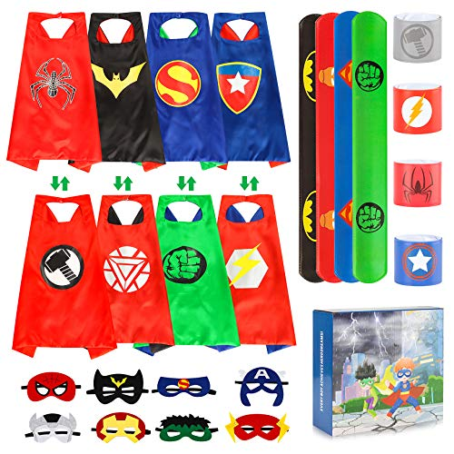 Product Image of the Superhero Capes for Kids Boy Girl Halloween Cosplay Costume Party Double Side...