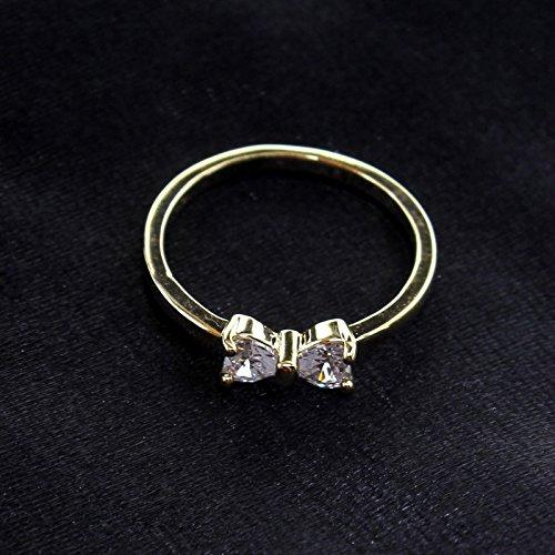 VANKER Bijoux Fantaisie Plaqué Or Doigt Arc Anneau Zircon Cristal Bague de Fiançailles Taille US8
