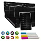 Magnetic Calendar for Refrigerator Weekly & Monthly Schedule Fridge Blackboard - Magnet Dry Erase Calendar Board (17'x12') | Bonus: to Do List Refrigerator Organizer, 4 Markers, 8 Icons