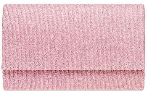 CASPAR TA400 Damen elegante Glitzer Stoff Envelope Clutch Tasche/Abendtasche mit langer Kette, Größe:One Size, Farbe:rosa