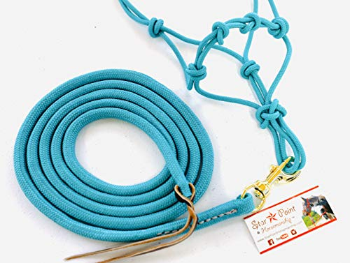 Star Point Horsemanship Mini-Pony 4 Knotted Rope Halter & 8' Lead Set (Teal, Small 28-32' Mini)