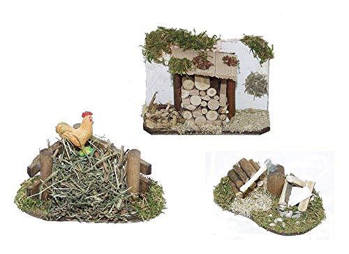 KLB Krippenzubehör Krippenstall Krippenset Holzlager Holzverschlag Hackstock Henne auf Misthaufen