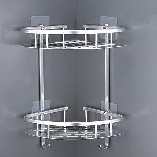 LATERN Ingen borrning badrumshörnshyllor, aluminium 2-nivås duschorganiserare caddie självhäftande förvaringskorg för scha...