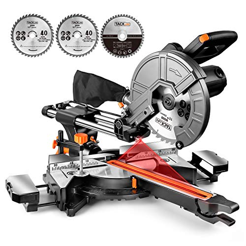 TACKLIFE Scie à Onglet Coulissante, 3200 / 4500tpm, Double Vitesse,...