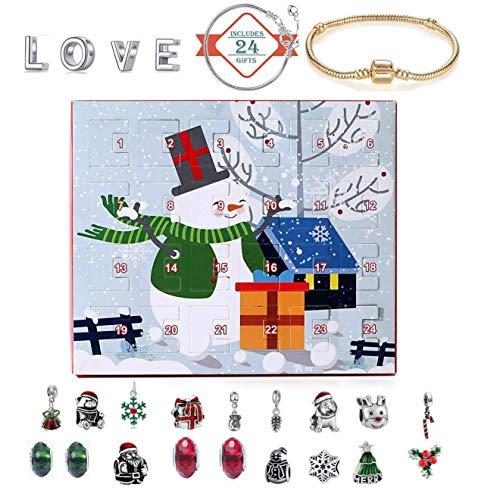 Calendarios de Adviento 2019 niños, la Belleza de la joyería de Cuenta Regresiva del Calendario 24 de la Pulsera del Collar de la Manera DIY para los Regalos de la Fiesta de Navidad,Snowman