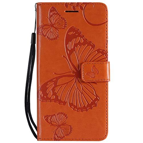 Yiizy Handyhüllen für Huawei Honor 8A Ledertasche, Schmetterling 3D Stil Lederhülle Brieftasche Schutzhülle für Huawei Honor Play 8A hülle Silikon Cover mit Magnetverschluss Kartenfächer (Orange)