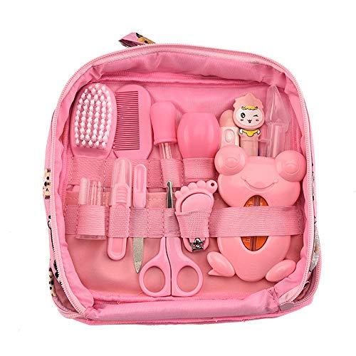 13Pcs Newborn Baby Care Kit Healthcare Set Beauty Tool Kit Knife Comb Nail File Temperature Nasal Aspirator (Pink, 13pcs)