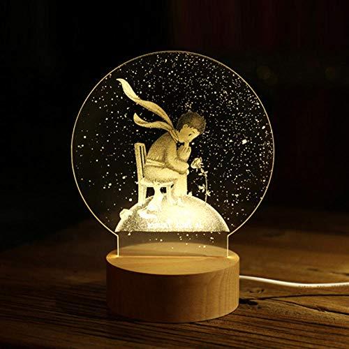 Lámpara 3D Lámpara De Mesita De Noche De Diente De León Amante Del Cielo Estrellado Principito Acrílico Creativo Luna Luz Nocturna Lámpara De Atmósfera De Noche Para Niños-Principito