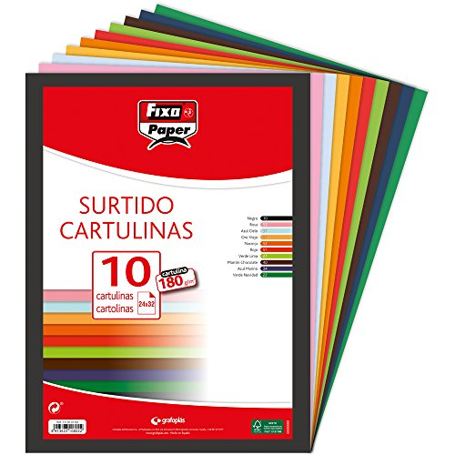 Fixo Paper 11080199 – Pack de 10 cartulinas surtidas, tamaño 32x24 cm, 180g/m²