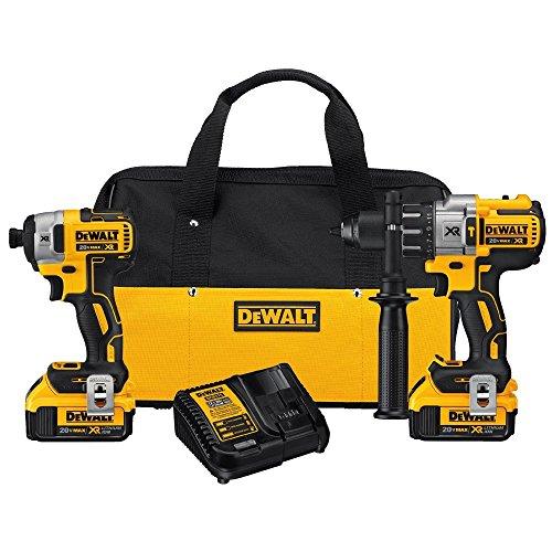 DEWALT 20V MAX XR Brushless Impact Driver and Hammer Drill Combo Kit, Premium 4.0Ah, Cordless (DCK299M2)