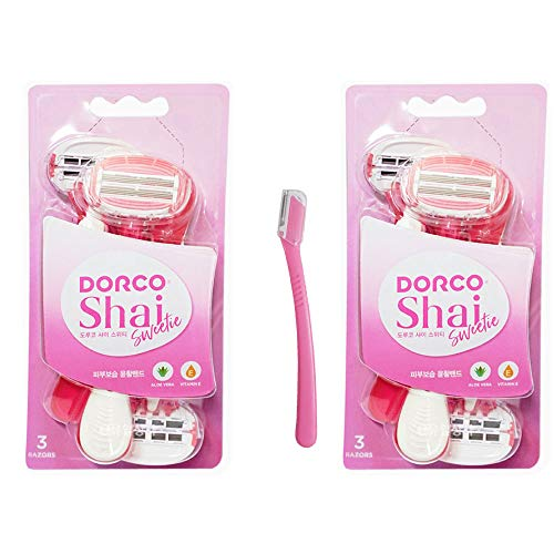 DORCO Shai Sweetie 6-Blade Women Disposable Razor 6-Count with Eyebrow Razor