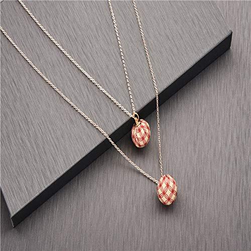 TFOOD Mehrreihige Damen Halskette,Böhmischer Stil Einfache Mode Rote Musterkugel Anhänger Antike Goldkette Für Damen Accessoires Schmuck