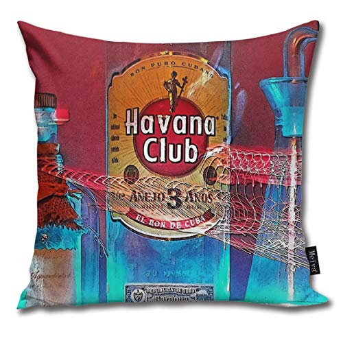 QMS CONTRACTING LIMITED Throw Pillow Cover Havana Club Decorative Pillow Hülle Home Decor Square 18x18 Inches Pillowcase