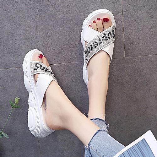 Cxypeng offenen Zehen Sandalen Damen,Frauen tragen im Sommer Dicke Flip-Flops, glänzende Strandsandalen und Hausschuhe - 36_Weiß,Duschschuhe Hausschuhe