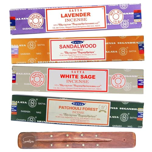 Satya Nag Champa Incense Sticks - 4 unique and premium flavours - Lavender, Sandalwood, White Sage, Patchouli Forest and comes with SAMASIA incense holder